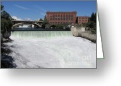 Spokane Greeting Cards - Spokane Falls Rainbow Greeting Card by Gayle Melges