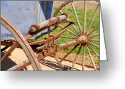 Carriage Team Greeting Cards - Spoked Wheels on Vintage Carriage Greeting Card by Connie Fox