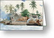 Bay Islands Painting Greeting Cards - Sponge Fisherman in the Bahama Greeting Card by Winslow Homer