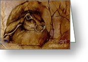 Hare Greeting Cards - Spooked Hare Greeting Card by Angel  Tarantella