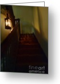 Vintage House Greeting Cards - Spooky Dark Stairway Greeting Card by Jill Battaglia