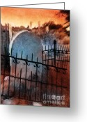 Cemetery Gate Greeting Cards - Spooky Grave Greeting Card by Jill Battaglia