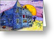 Yellow Drawings Greeting Cards - Spooky House Greeting Card by Jame Hayes