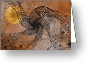 Lacy Fractal Greeting Cards - Spooky Moon 2 Greeting Card by Pam Blackstone