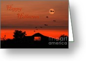Glowing Moon Greeting Cards - Spooky Night Greeting Card by Darren Fisher