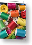 Button Greeting Cards - Spools of thread with buttons Greeting Card by Garry Gay
