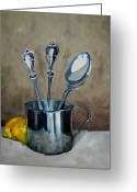 Sterling Silver Greeting Cards - Spoons Lemons and a Baby Cup Greeting Card by Amy Higgins