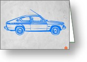 Old Paper Greeting Cards - Sports Car Greeting Card by Irina  March