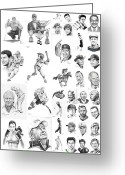 Baseball Drawings Greeting Cards - Sports Figures Collage Greeting Card by Murphy Elliott