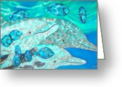 Caribbean Sea Tapestries - Textiles Greeting Cards - Spotted Dolphins and Blue Tang Greeting Card by Daniel Jean-Baptiste