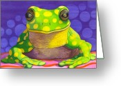Frog Greeting Cards - Spotted Frog Greeting Card by Catherine G McElroy