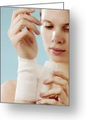 Womanly Greeting Cards - Sprained Wrist Greeting Card by Mauro Fermariello