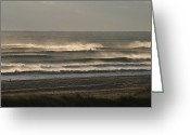 Atlantic Beaches Greeting Cards - Spray Blows Off Waves On A Windy Greeting Card by Skip Brown