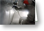 Overalls Greeting Cards - Spray Painting A Car Greeting Card by Crown Copyrighthealth & Safety Laboratory