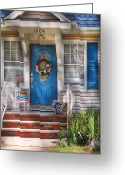 Old Lady Greeting Cards - Spring - Door -  A Bit of Blue  Greeting Card by Mike Savad