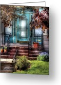 Red Door Greeting Cards - Spring - Door - Apartment Greeting Card by Mike Savad