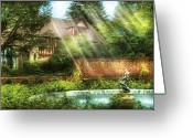 Morning Light Greeting Cards - Spring - Garden - The pool of hopes Greeting Card by Mike Savad