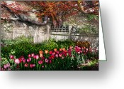 Spring Scenes Greeting Cards - Spring - Gate - My Spring garden  Greeting Card by Mike Savad