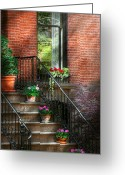 Spring Scenes Greeting Cards - Spring - Porch - Hoboken in Spring Greeting Card by Mike Savad