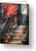 Spring Scenes Greeting Cards - Spring - Porch - Hoboken NJ - Geraniums on stairs Greeting Card by Mike Savad