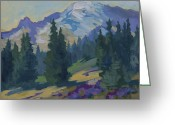 Pine Trees Painting Greeting Cards - Spring at Mount Rainier Greeting Card by Diane McClary