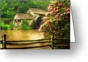 Pond Reflection Greeting Cards - Spring at the Mill Greeting Card by Darren Fisher