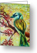 Bird Framed Prints Greeting Cards - Spring bird Greeting Card by Rashmi Rao