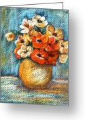 Oil Painting Greeting Cards - Spring Bouquet Greeting Card by Enzie Shahmiri