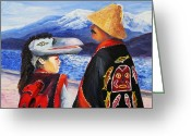 Native Portraits Greeting Cards - Spring breeze. Alaska Greeting Card by Svetlana Nassyrov
