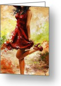 Red Dress Painting Greeting Cards - Spring breeze Greeting Card by Emerico Toth