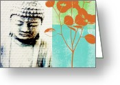 Sky Mixed Media Greeting Cards - Spring Buddha Greeting Card by Linda Woods