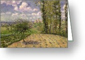 French Landscape Greeting Cards - Spring Greeting Card by Camille Pissarro