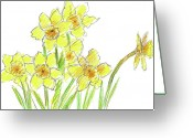 Narcissus Drawings Greeting Cards - Spring Daffodils Greeting Card by Cathie Richardson