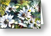 Fine Art Watercolor Drawings Greeting Cards - Spring Daisies Greeting Card by Mindy Newman