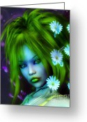 3d Graphic Greeting Cards - Spring Elf Greeting Card by Jutta Maria Pusl