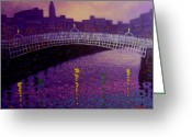 Violet Prints Greeting Cards - Spring Evening Ha Penny Bridge Dublin Greeting Card by John  Nolan