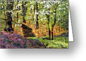Garden Pathway Greeting Cards - Spring Fantasy Forest Greeting Card by David Lloyd Glover