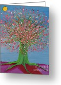 Jrr Greeting Cards - Spring Fantasy Tree by jrr Greeting Card by First Star Art