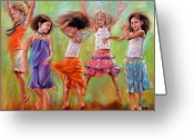 Little Girls Greeting Cards - Spring Fever Greeting Card by Mary Leslie