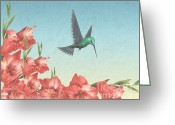 Gladiolus Greeting Cards - Spring Flight Greeting Card by Cheryl Young