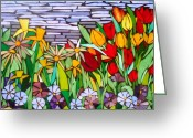 Tulips Glass Art Greeting Cards - Spring FLoral Mosaic Greeting Card by Liz Shepard