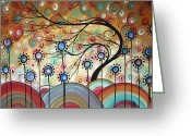 Dark Brown Greeting Cards - Spring Flowers Original Painting MADART Greeting Card by Megan Duncanson