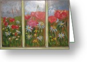 Vintage Glass Art Greeting Cards - Spring Garden Greeting Card by Peggy Roberson