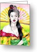Jet Drawings Greeting Cards - Spring Geisha Greeting Card by Scarlett Royal