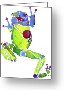 Toad Greeting Cards - Spring Green Frog Greeting Card by Jo Lynch