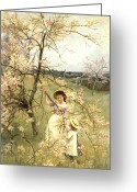 Signed Greeting Cards - Spring Greeting Card by Henry George Todd