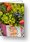 Spring Tulip Greeting Cards - Spring In A Bucket Greeting Card by Rebecca Cozart