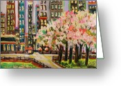  Parks Drawings Greeting Cards - Spring in the City Greeting Card by John  Williams