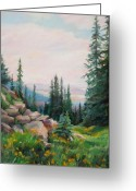 Vertical Painting Greeting Cards - Spring in the Rockies Greeting Card by Marie Massey