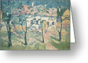 Spring Scenes Painting Greeting Cards - Spring Greeting Card by Kazimir Severinovich Malevich